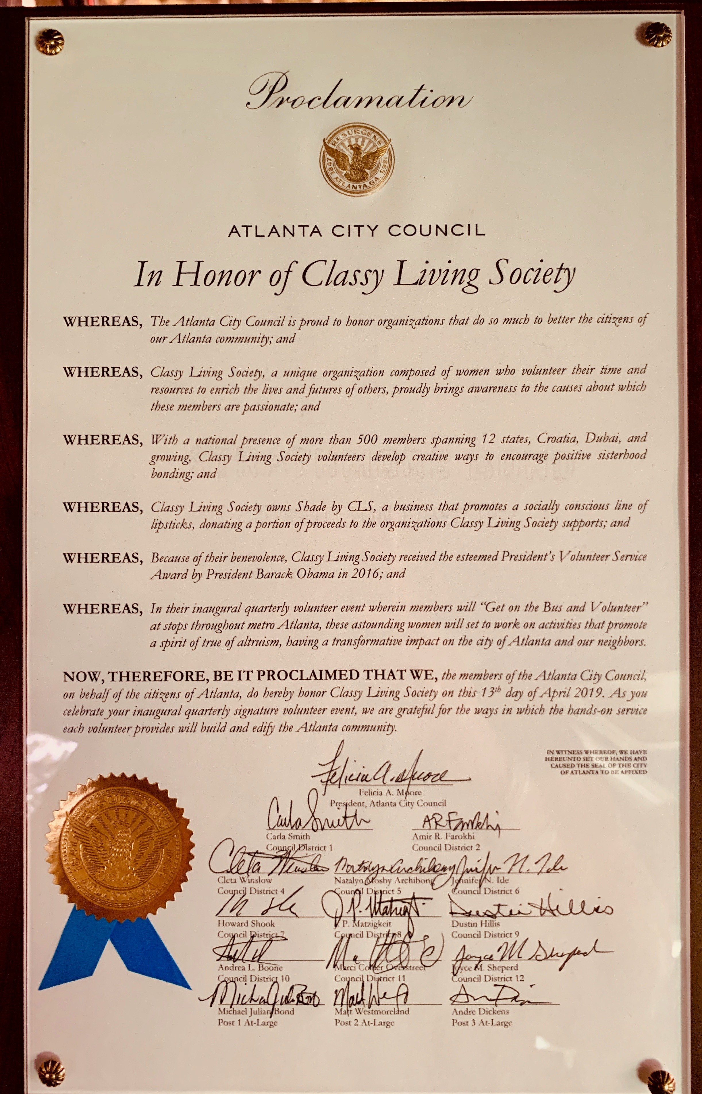 Classy Living Society is Honored by Atlanta City Council Proclamation!